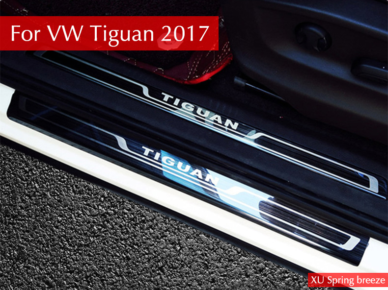 For VW Tiguan 2016 2017 2018 MK2 Europe version Car Scuff Plate Door Sill Trim Welcome Pedal Car Styling car rear trunk security shield cargo cover for volkswagen vw tiguan 2016 2017 2018 high qualit black beige auto accessories