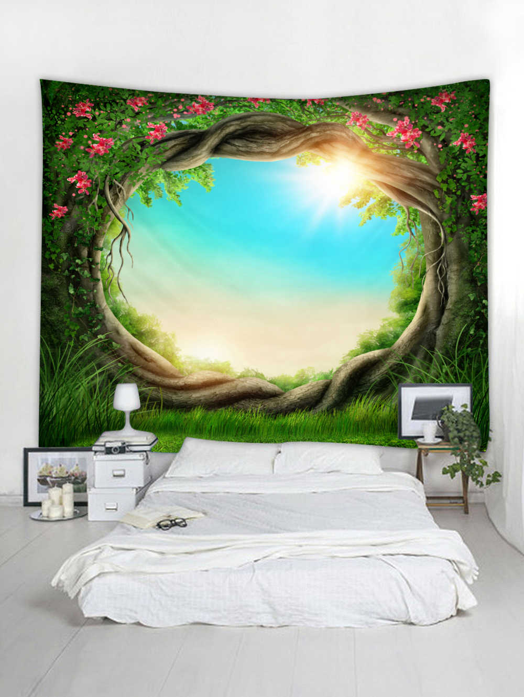 3D Nature Tree Art หลุมขนาดใหญ่ Florals Hot พรมแขวนผนัง Tapestry ที่นอน Bohemian 3 ขนาดพรมผ้าห่ม Camping เต็นท์
