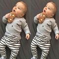 2Pcs Kids Boys Girls Spring/Autumn Cartoon Eyelash Outfit Set Children Kid Long T-shirt Pullover+Stripe Pants Tracksuit Clothes