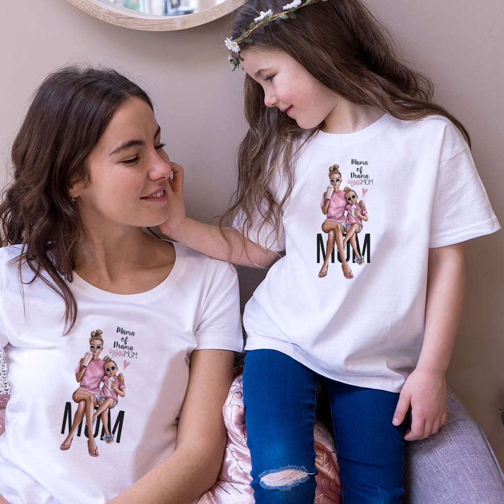 Female T-Shirt Family Matching Mom Daughter Girls Clothes T-shirt Tee Korean Fashion Harajuku Kawaii White Tshirt Outfits