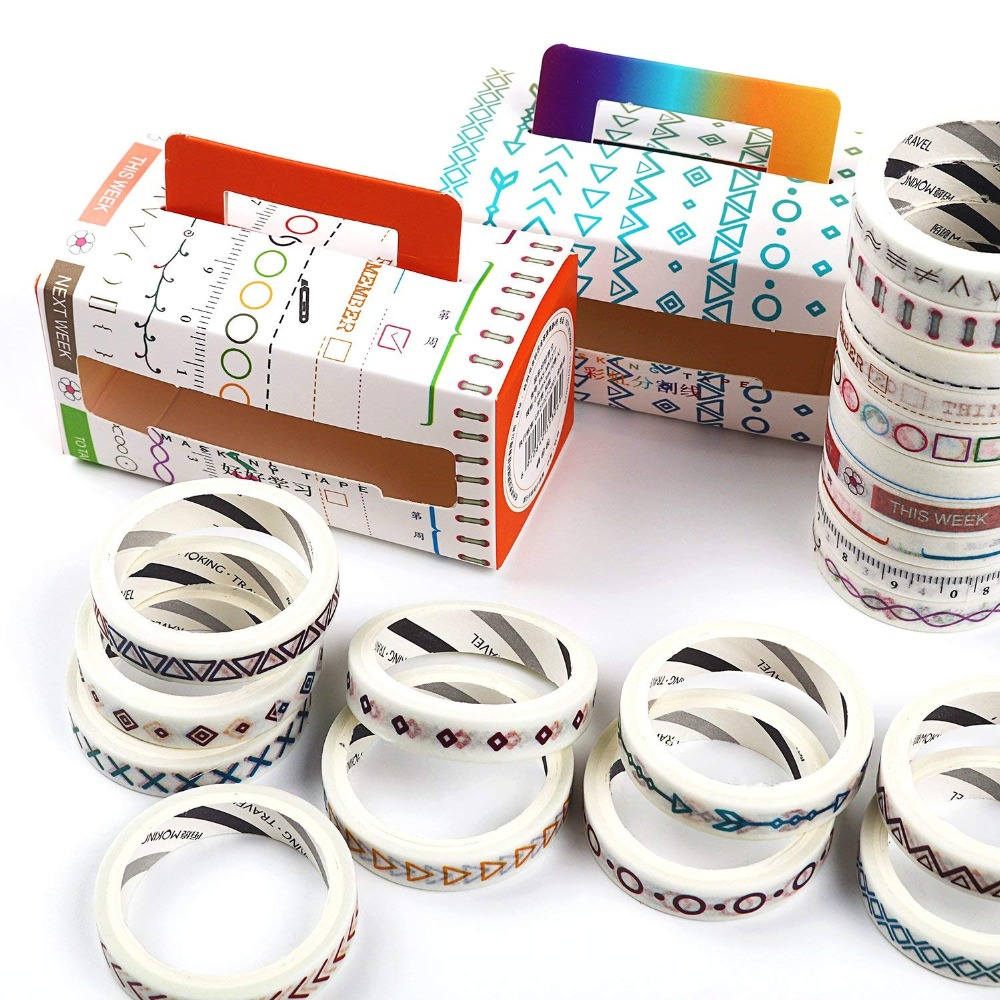10 Rolls/pack Flowers Alphabet Washi Tape DIY Decorative Scrapbooking Masking Tape Adhesive Label Sticker Tape Stationery
