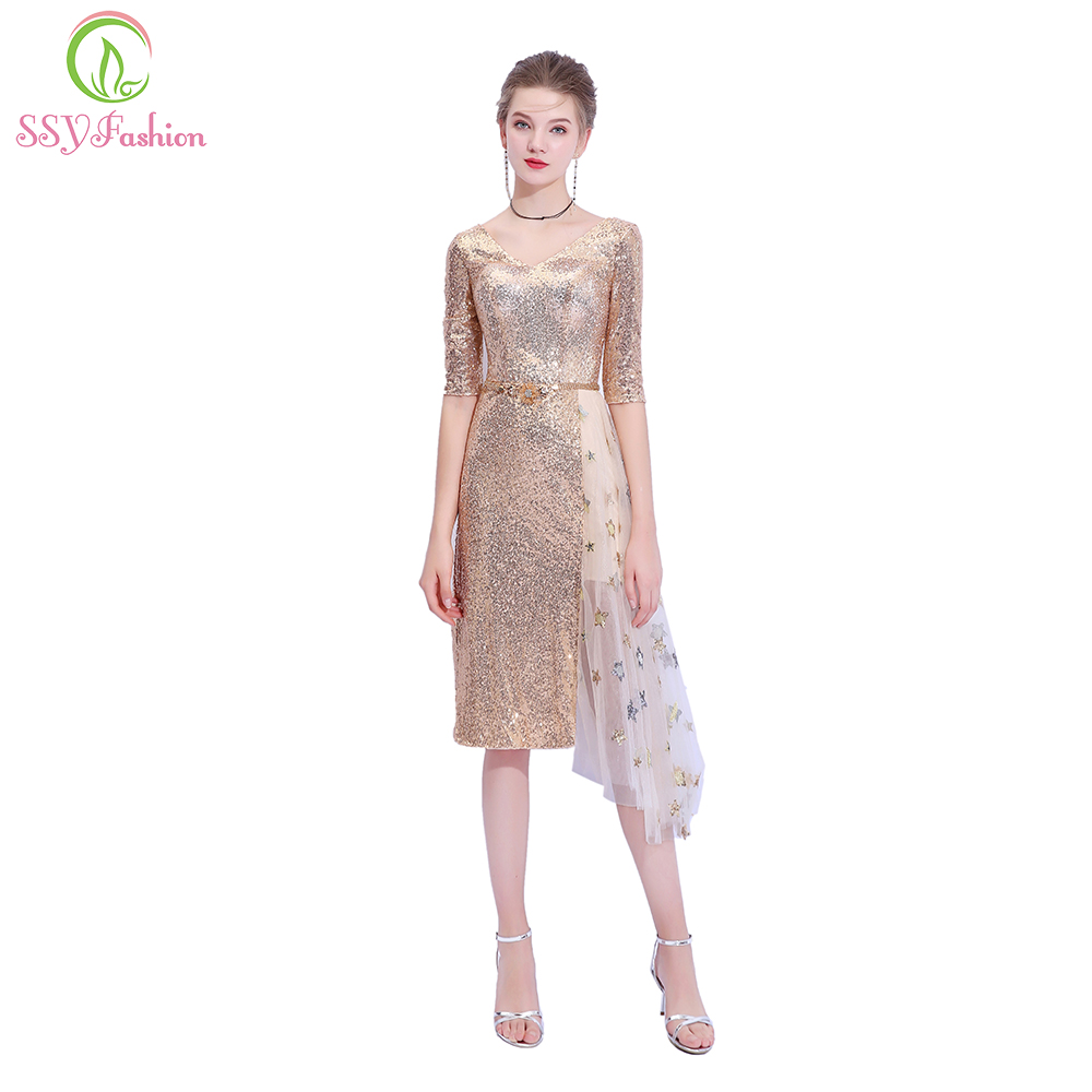 SSYFashion New   Cocktail     Dress   V-neck Half-sleeved Sexy Slim Champagne Gold Sequined Party Gown Robe De Soiree Reflective   Dress