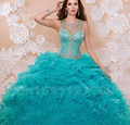 Luxury Crystal Beading Quinceanera Dresses 2017 Ruffles Backless Ball Gown Quinceanera Gowns Organza Floor Length