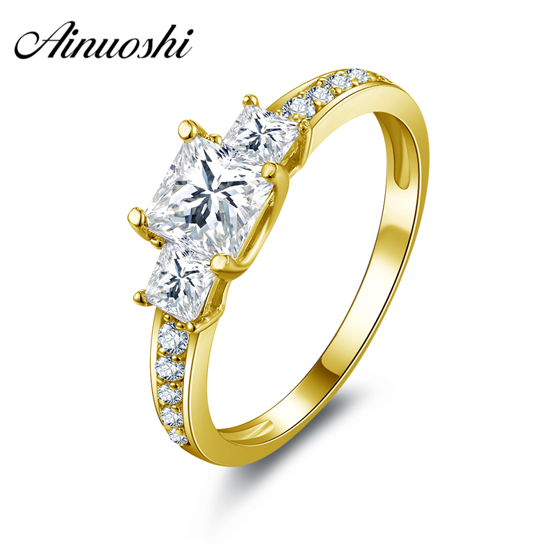 все цены на AINUOSHI 10k Solid Yellow Gold Wedding Rings Classic Princess Cut CZ Engagement Lovers Bague Jewelry Gift Women Wedding Rings онлайн