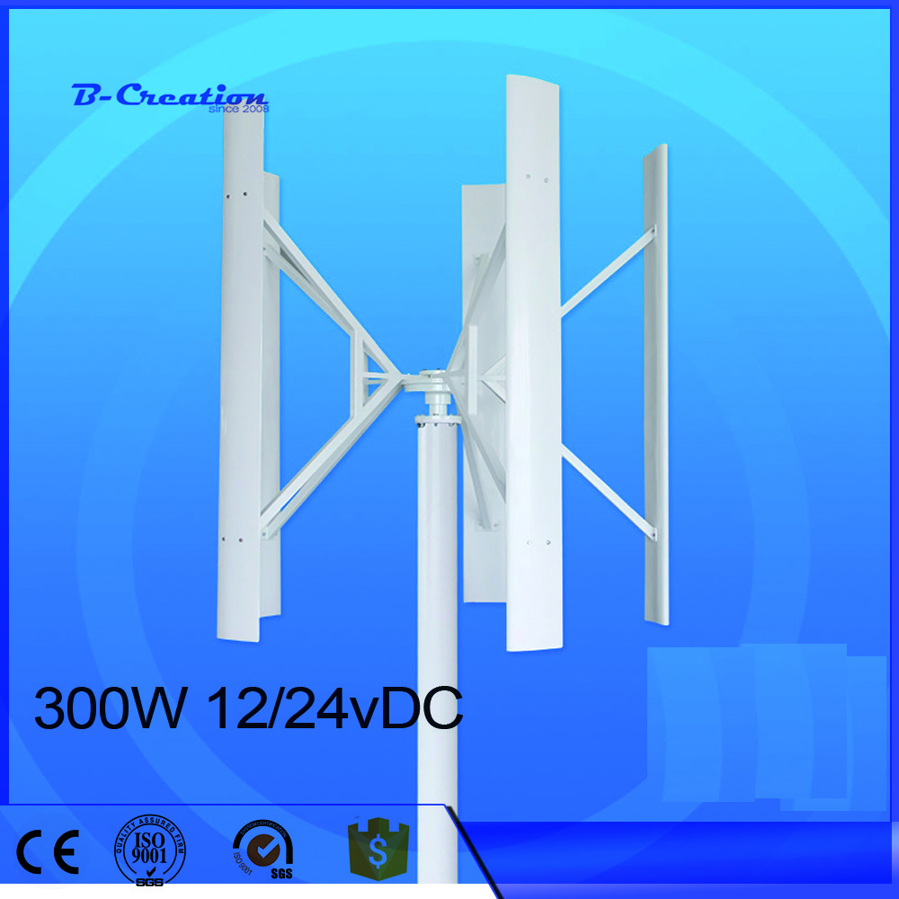 wind generator vertical Wind Turbine 300w Combine with 12V/24V Option Wind Solar Hybrid controller 300w 12v 24v to 110v 220v vertical wind turbine combine with 600w wind solar controller and 300w pure sine wave inverter