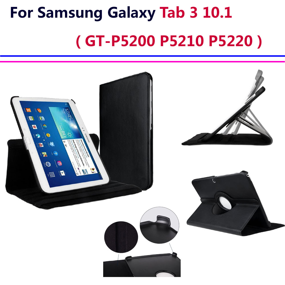 tab 3 10 1 gt p5200 p5210 case 360 degree rotating cover case for samsung galaxy