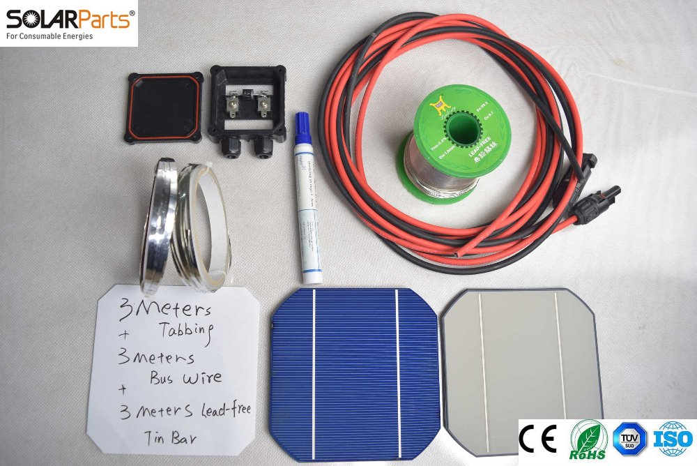 Solarparts 1x 90W/20V DIY solar panel kits with 125*125mm normal monocrystalline solar cell use flux pen+tab wire+bus+connect