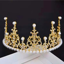 Crystal Crown Cake Metal Topper Pearl Happy Birthday Toppers Wedding &Engagement Decora Sweet Hair Accessories