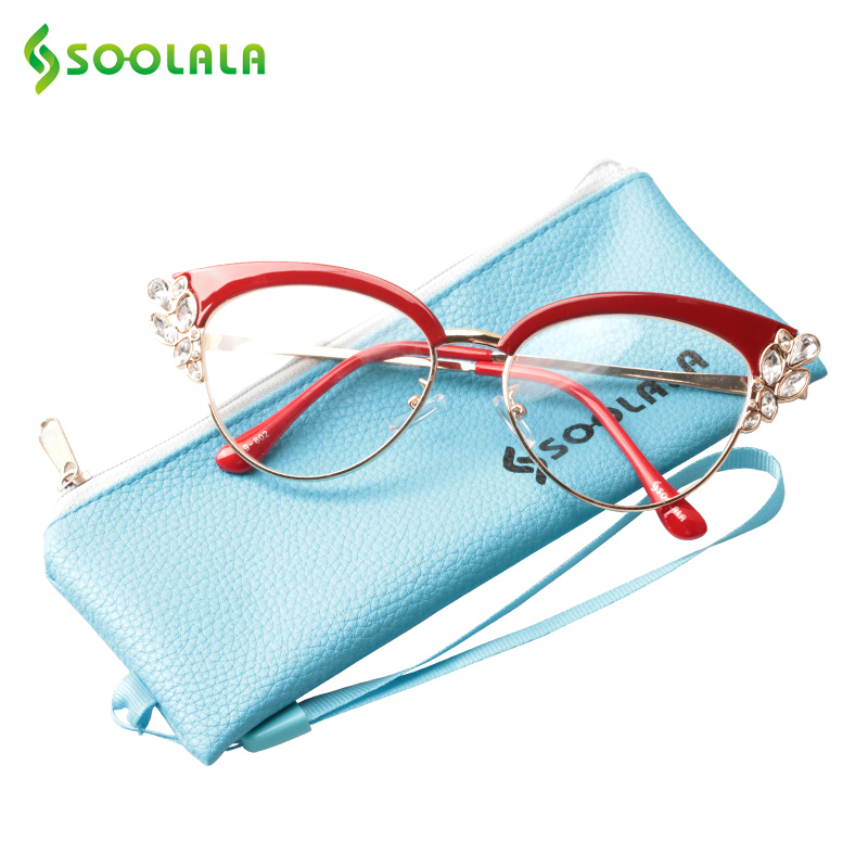 SOOLALA Rhinestones Cateye Reading Glasses Women Fashion Ladies Eyeglasses Frame Presbyopia Reading Glasses W/ Case +0.5 To 4.0