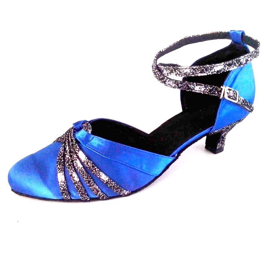 Women s Customized Heel Modern Closed Toe Salsa Latin Ballroom Party Dance  Shoe Ankle Strap Royal Blue Color Dancing Shoes 174ecda450ae