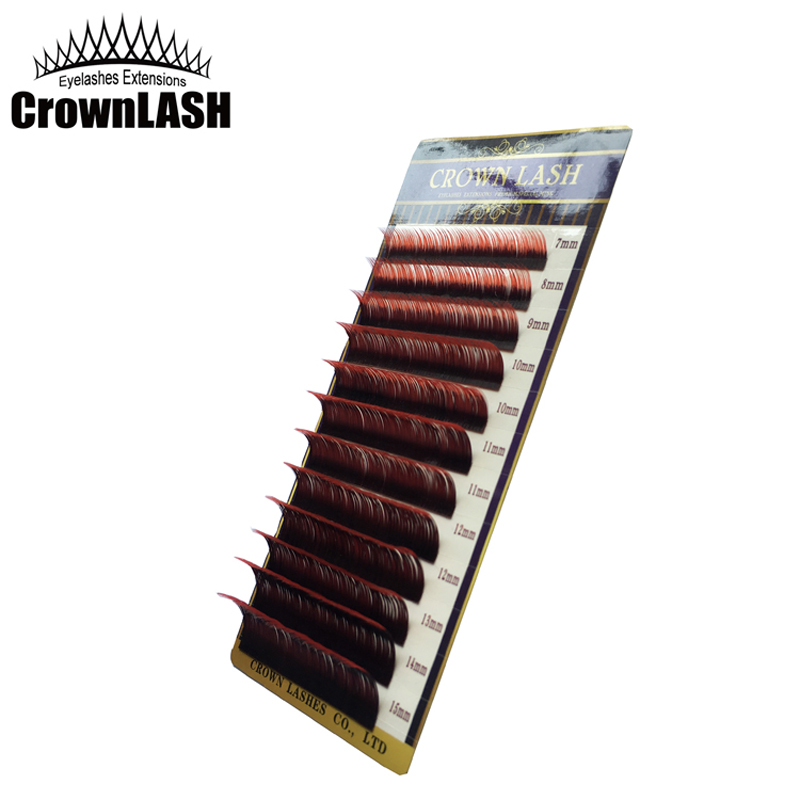 CrownLash Volum Lash förlängning C-0.10, C-0.15 7-15mm Dual Color Ombre Red
