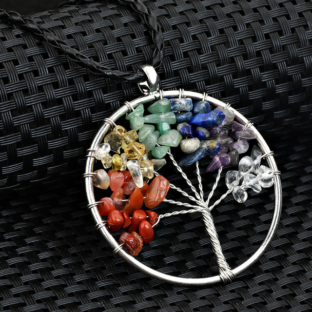 Online shop 2017 liujun meaning blessing lucky tree of life pendant 2017 liujun meaning blessing lucky tree of life pendant necklace quartz women multicolor rainbow chakra natural stone necklace aloadofball Images