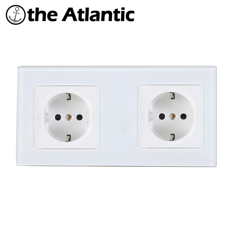 Atlantic EU Double Socket Crystal Glass with 2 Pin Wall Plug Socket Tempered Crystal Glass Panel 110-250V Wall Power Socket atlantic switch tempered glass phone tv socket model luxury crystal glass panel weak current socket telephone television outlet
