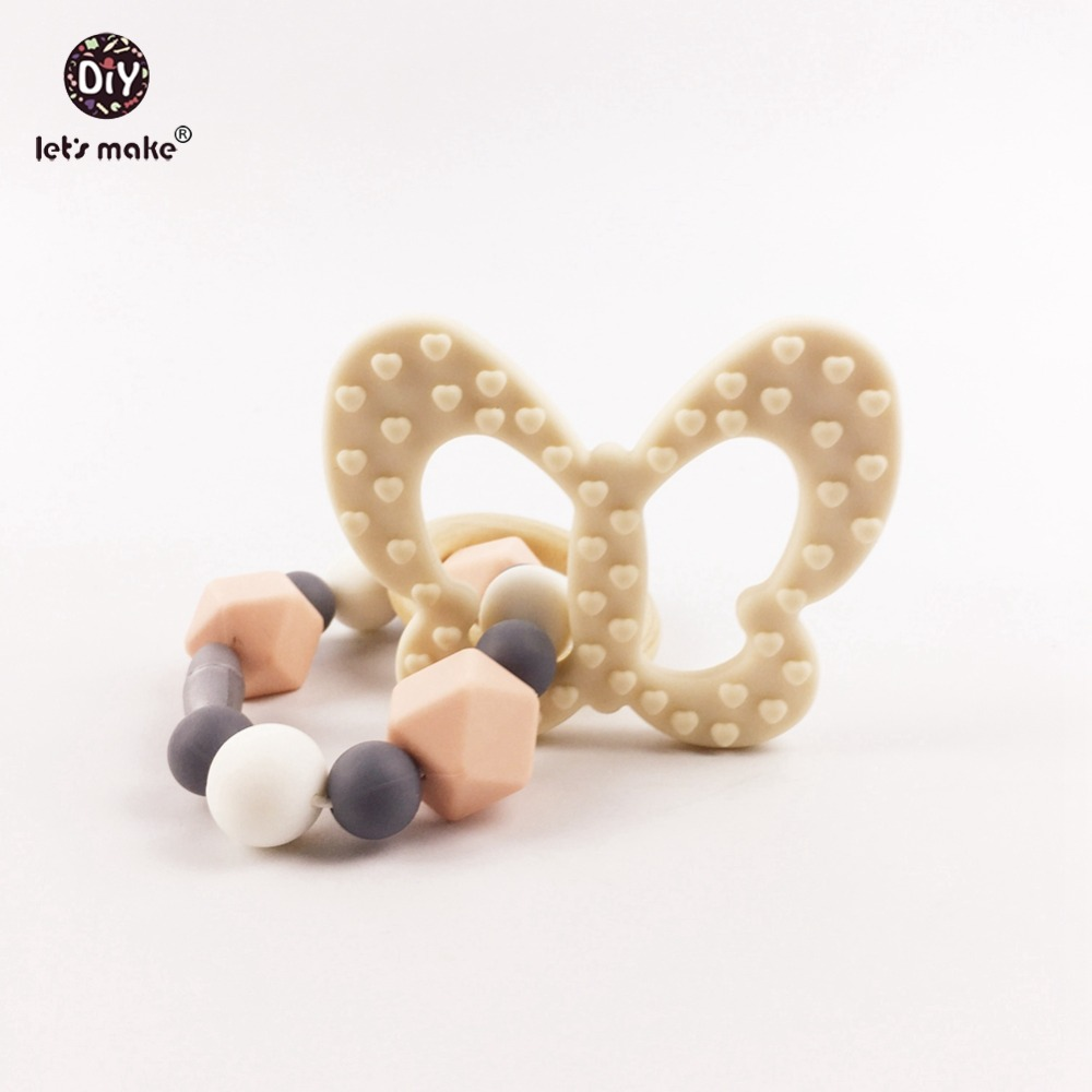 Lets make Butterfly Silicone Teether Food Grade Safe Silicone Beads Baby Teething Bracelet