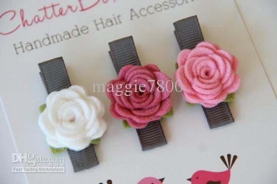 """Wholesale - 2.5"""" Baby felt hair bows hair clips Girl Hair Accessories Baby felt Felt Flowers bows handmade A392"""