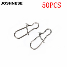 JOSHNESE 50pcs/bag Stainless Steel Hook Fast Clip Lock Snap Swivel Solid Rings Safety Snaps Fishing Hooks Connector