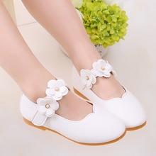 Zapatos de cuero de 1-11 años para niñas, zapatos de fiesta de flores para bebés, zapatos de princesa para niños, zapatos planos de vestir, sandalias blancas MCH017