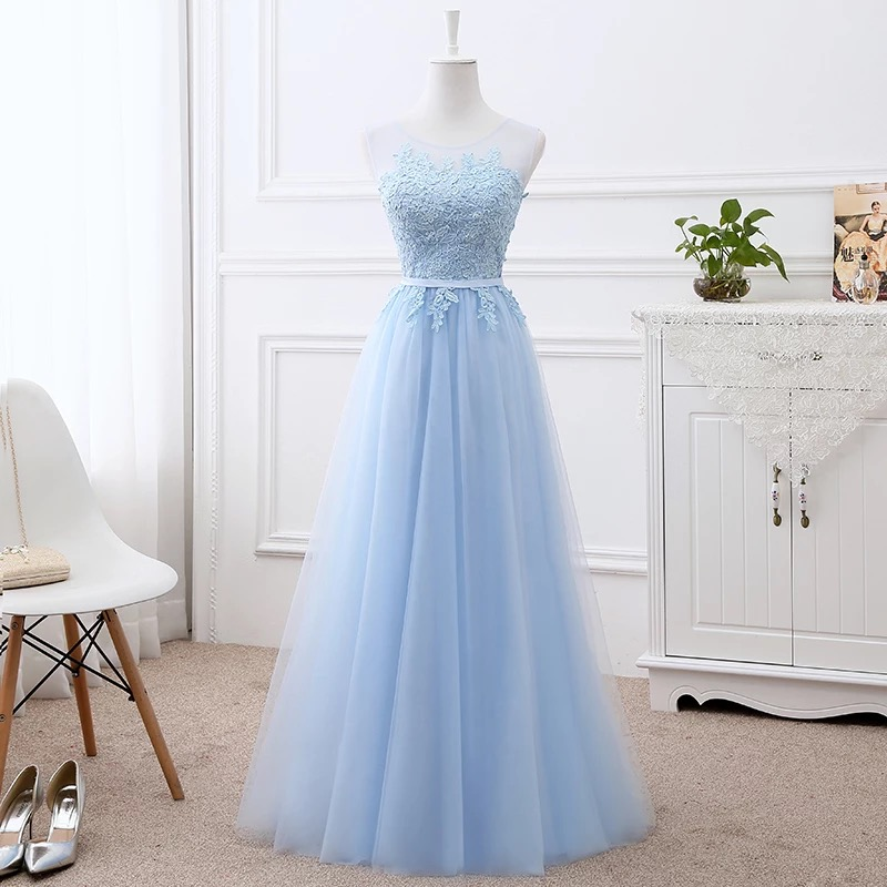 A-line Long Formal Pink Red Blue White   Bridesmaid     Dresses   Elegant Long Wedding Party   Dress   Gowns Tulle Lace Robe Soiree BS01