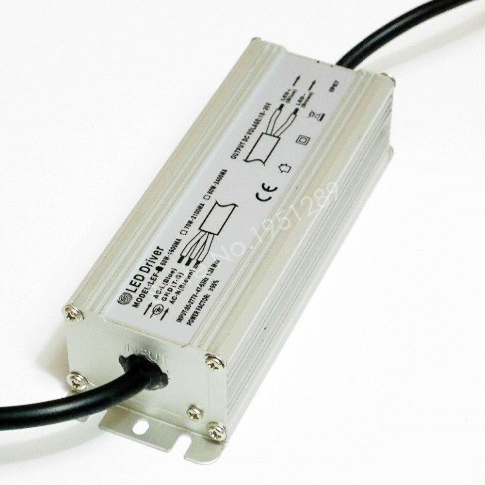 CE Certified IP67 60W 1800mA Led Driver DC 18V 35V Power Supply AC 110V 220V 277V for 10 series 6 parallel LED lights