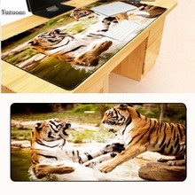 Yuzuoan Tigers Playing in the Water Laptop Gaming Large Animal Mouse Pads Locking Edge Mat for LOL Dota2 CS Mouse Mice Pad