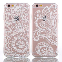 Bela Branco Floral Mandala Flor Palácio Elefante Ultra Slim Macio TPU Telefone casos Capa Para o iphone 5 5G 5S SE 6 6G 6 S 6 Mais