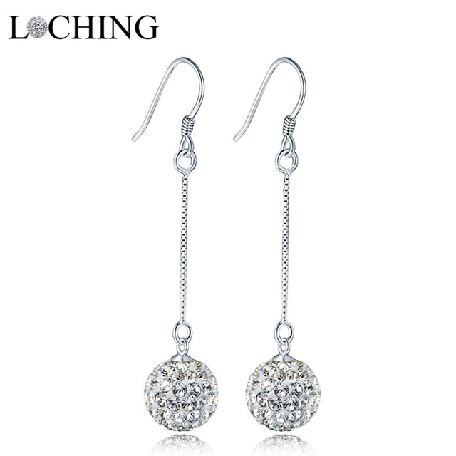 Loching Ball Earrings Fashion Simple 100 925 Silver Long Dangle Shiny Prom Evening