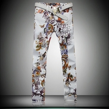 Superb Men s Butterfly Flower Print White Skinny Jean Pant Fashion Casual Straight Pencil Pant Night