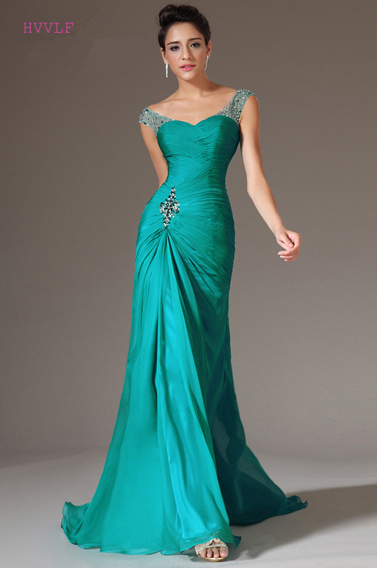 Green Evening Dresses 2018 Mermaid V-neck Cap Sleeves Chiffon Beaded ...
