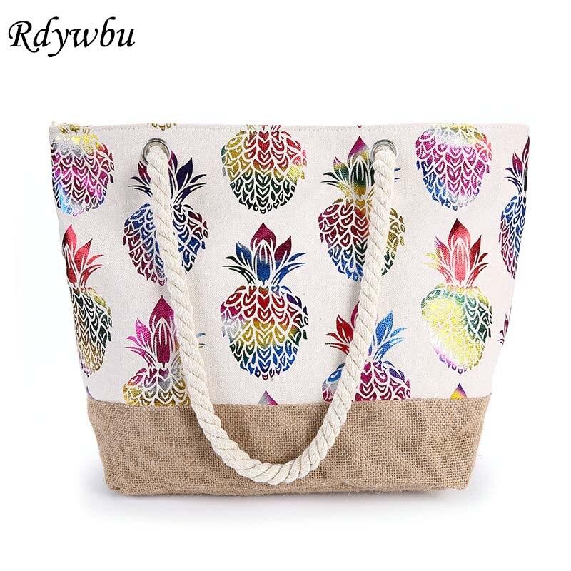 Rdywbu Women Canvas Straw Shoulder Bag Colorful Pineapple Printed Tote Handbag Natural Linen Jute Beach Bag For Holiday B798
