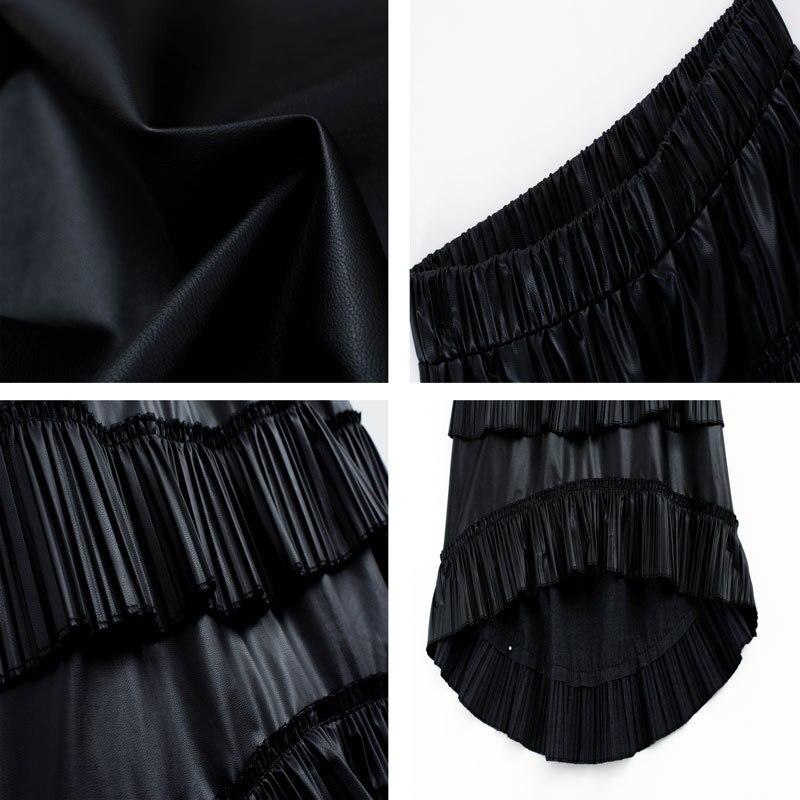 Cintura Solo Mujeres Borlas 2018 Cuero Falda Black Plisado A Alta line Nuevas Capa Cake Wb95401l Asimétrico qAUwEEX