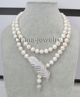 32 10 11mm white round freshwater pearl necklace zircon pendant