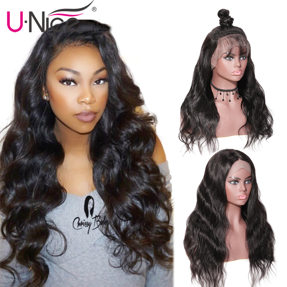 Unice Hair Wigs Body Wave Full Lace Human Hair Wigs With Baby Hair Pre Plucked Brazilian Full Lace Wigs For Black Women(China)