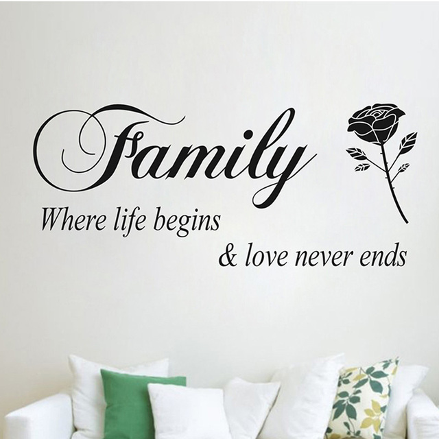 Popular Quote Words Family Where Life Begins Love Never End Rose Flower  Home Decal Wall Sticker
