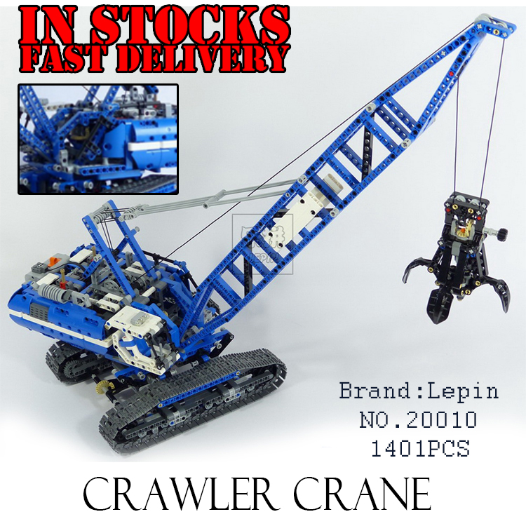 LEPIN 20010 1401Pcs Technic Series Crawler Crane Model Building Blocks Bricks Toys for children Gifts compatible 42042 brinquedo city airport vip private plane blocks bricks building technic christmas toys for children compatible with legoeinglys lepin 8911