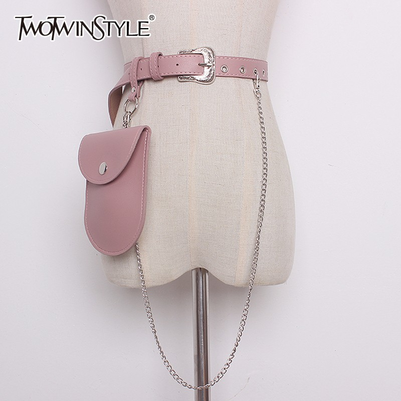 TWOTWINSTYLE Pu Leather Belt With Bag Removable Chain Patchwork High Waist Belts Womens Summer Fashion Harajuku Cummerbunds