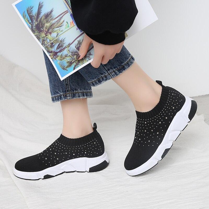 5ff09f84 Zapatos Mujer Negro on De 2019 Tejido Primavera Calcetines Alta Calcetín  Planos Slip Elástico Lana OqOrAw5
