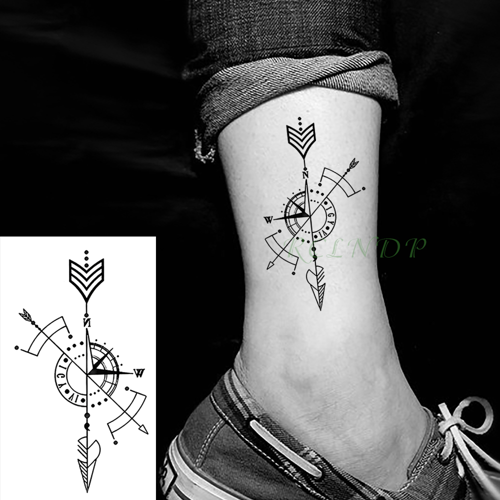 Waterproof Temporary Tattoo Stickers Compass Fake Tatto Body Art Flash Tatoo Tatouage Arm Hand Back Foot Tato For Girl Women Men