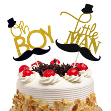 20pcs Oh Boy Little Man Cake Toppers Flags Glitter Kids Birthday Moustache Cupcake Topper Wedding Baby Shower Party Baking DIY