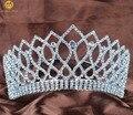"Sparkling Contoured Tiara Headband 3.5"" Clear Crystal Brides Crown Wedding Pagenat Prom Costumes Hair Jewelery"