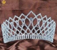 Sparkling Contoured Tiara Headband 3.5 Clear Crystal Rhinestone Brides Crown Wedding Bridal Pageant Prom Costumes Hair Jewelery