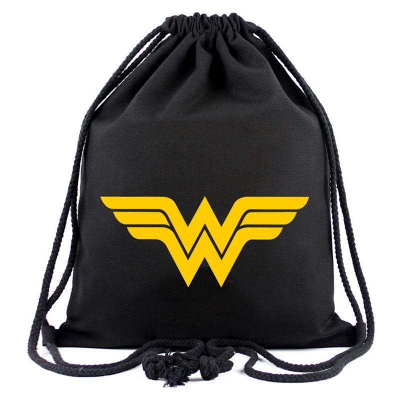 Hero Wonder Woman Canvas Drawstring Bag Anime Deadpool Batman Superman Captain America Hulk Pouch Kids Drawstring Backpack Bags