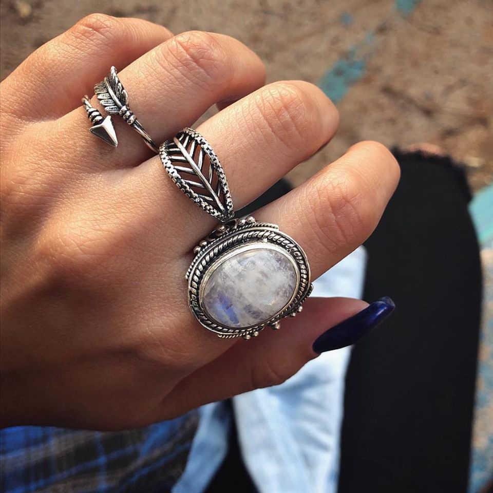 Jewdy โบฮีเมียนใหญ่ Cavring แหวน Hyperbole แหวนผู้หญิงเครื่องประดับเงินโบราณดอกไม้เต่าชุดแหวนผู้หญิงเครื่องประดับ 7 ชิ้น/เซ็ต
