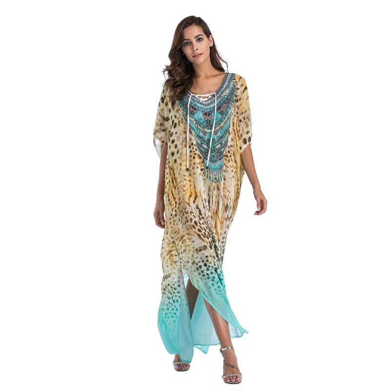 US $31.67 |Women Kaftan Tunic Kimono Dress Summer Chiffon Beachwear Bathing  Suits Ethnic Print Beach Long Maxi Dress Plus Size-in Dresses from Women\'s  ...
