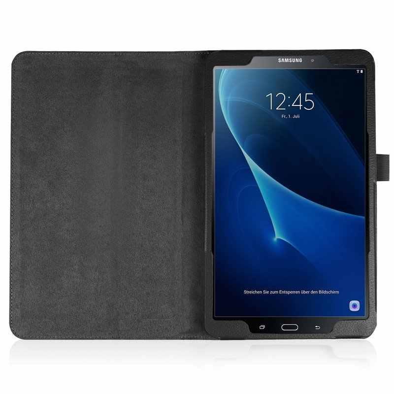 บางพับ PU หนังสำหรับ Samsung Galaxy Tab A A6 10.1 2016 T585 T580 SM-T580N ดินสอผู้ถือ Funda