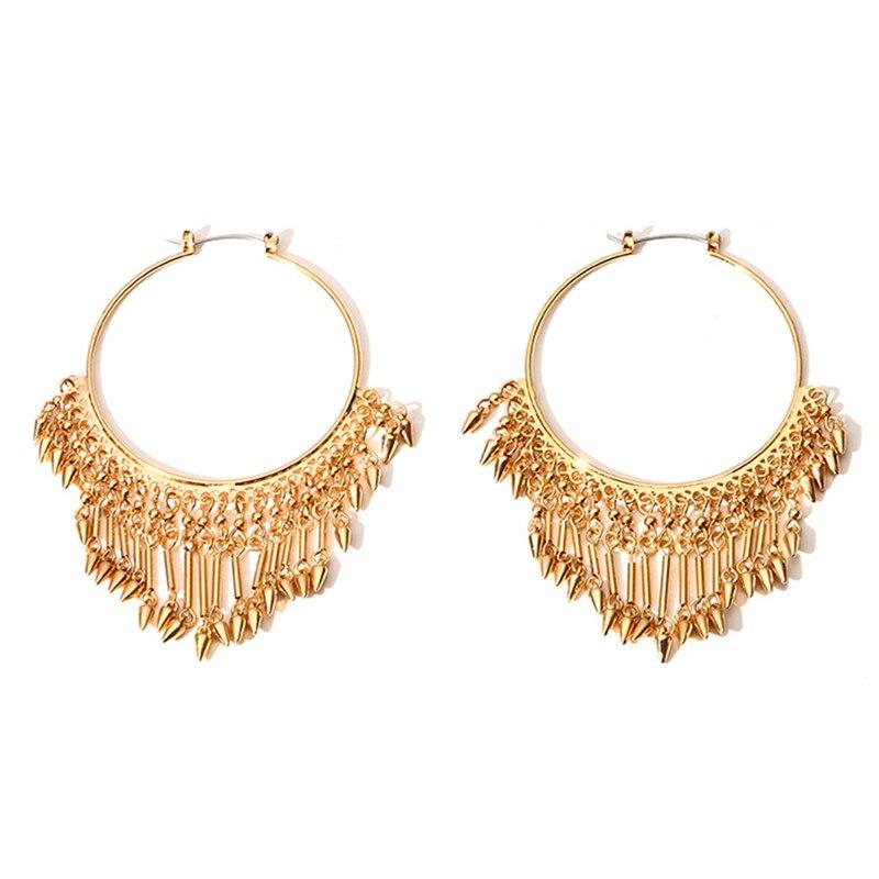 minimalism originality tassels ear exaggeration retro geometry circle earrings boucle d 39 oreille