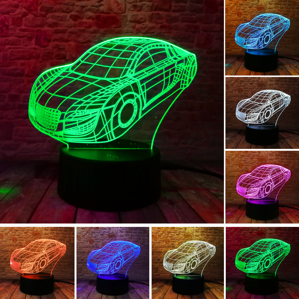Creative 3D Cartoon Car Led 7 Color Dimming Home Night Light Decor Baby Bedroom Birthday Party Lamp Childrens Day Xmas Gifts