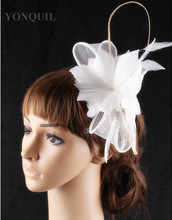 21 Colors artistic sinamay feather flower hair fascinator photographic studio headpiece bar hat suit for all