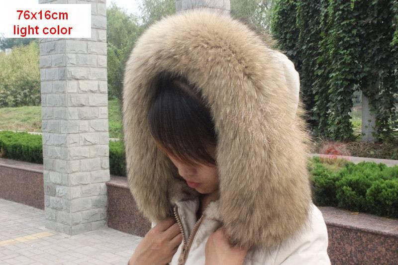 Vinter Äkta Real Natural Raccoon Fur Collar & Women Scarfs Fashion - Kläder tillbehör - Foto 3