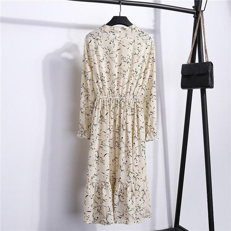 Summer Korean Chiffon Women Dress Elegant Ladies Vintage Long Dress Boho Floral Office Long Sleeve Vestidos Clothing 5LYQ003 49