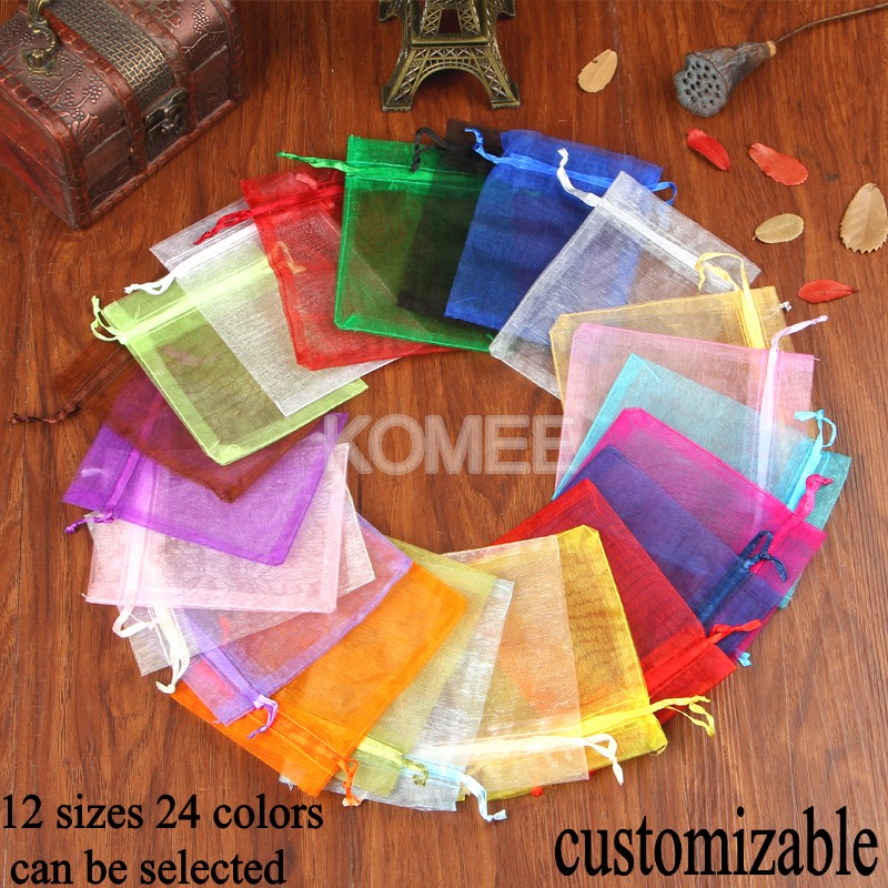 Hot Selling Organza Pouches 100pcs/lot 7x9cm Bag For Wedding Decoration Christmas Gift Craft Jewelry Drawstring Packaging